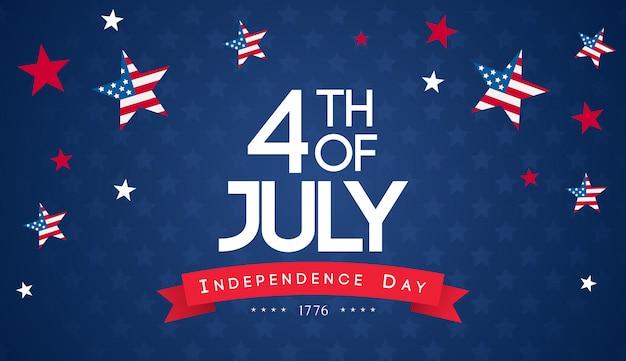 7月4日の背景ベクトル。アメリカ独立記念日