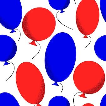 アメリカ独立記念日のシームレスパターン。ベクトルお祝いイラスト。風船で7月4日