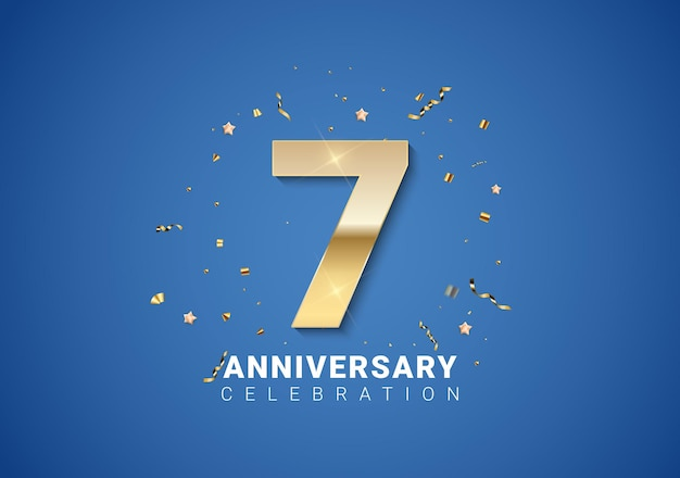 밝은 파란색 배경에 황금 숫자, 색종이 조각, 별이 있는 7주년 배경. 벡터 일러스트 레이 션 eps10