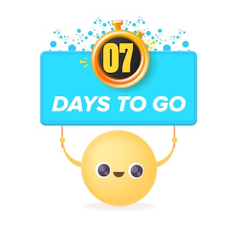 7 days to go banner design template with a smiley face holding countdown