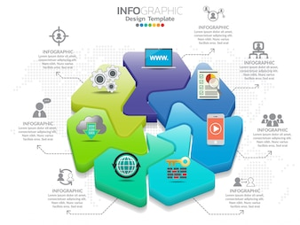 7 Parts infographic design vector and marketing icons.