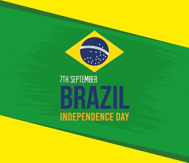 9月7日、ブラジル独立記念、フラグエンブレム装飾ベクトルイラストデザイン