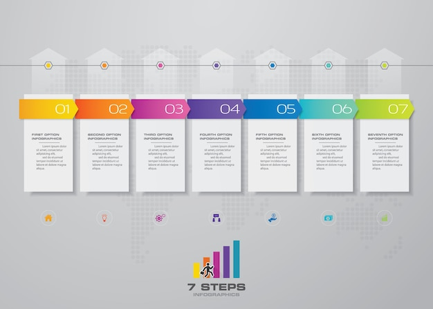 7 steps of arrow timeline infografics template chart.