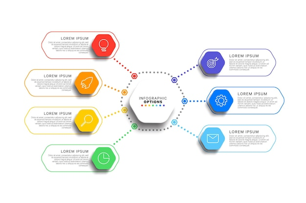 7 steps infographic template with realistic hexagonal elements on white background