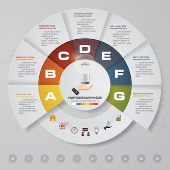 7 steps modern chart infographics elements.