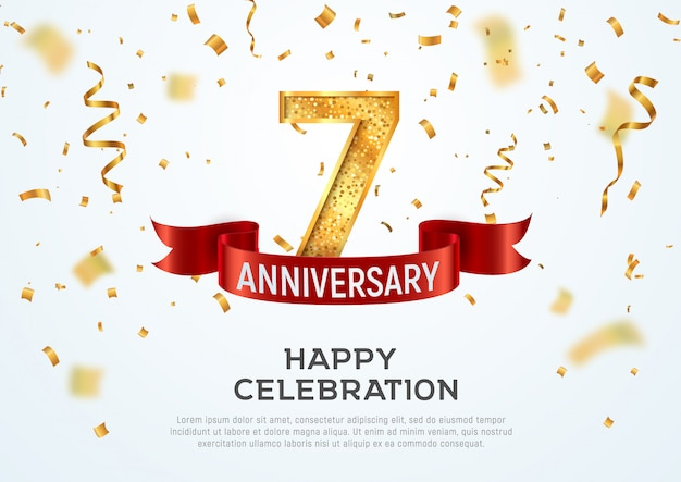 7年記念日ベクターバナーテンプレート。赤いリボンと白い背景の紙吹雪と7年ジュビリー