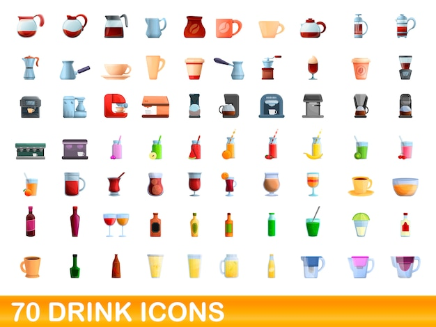 70 drink icons set