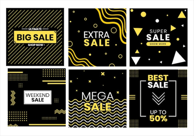 70. modern sales for social media black and yellow