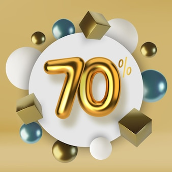 70 off discount promotion sale made of 3d gold text realistic spheres and cubes