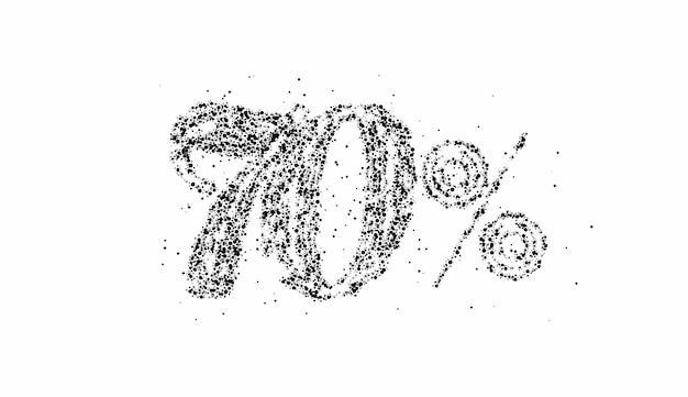 70% off 입자 판매 할인 배너. 할인 제안 가격표. 벡터 현대 스티커 그림입니다.