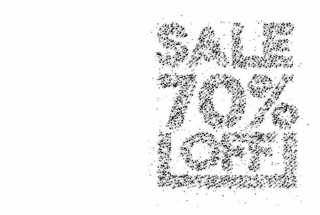 70% 할인 판매 할인 입자 디자인 배너. 할인 제안 가격표. 벡터 현대 스티커 그림입니다.