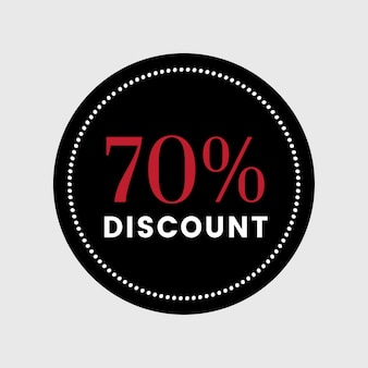 70 percent off sale badge vector