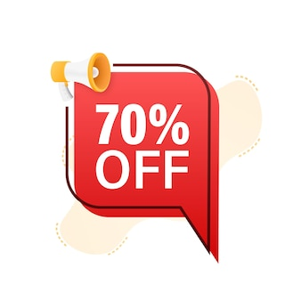 70 percent off sale discount banner with megaphone discount offer price tag