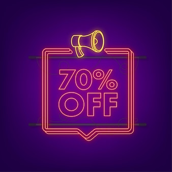 70 percent off sale discount neon banner with megaphone. discount offer price tag. 70 percent discount promotion flat icon with long shadow. vector illustration.