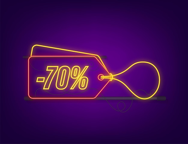 70 percent off sale discount neon tag. discount offer price tag. 70 percent discount promotion flat icon with long shadow. vector illustration.