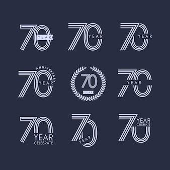 70 year anniversary set vector template design illustration