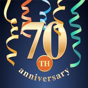 Празднование юбилея 70 лет. элемент дизайна шаблона с золотым номером