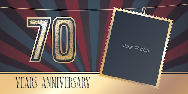 70周年記念、フォトフレームのコラージュと70周年記念番号。