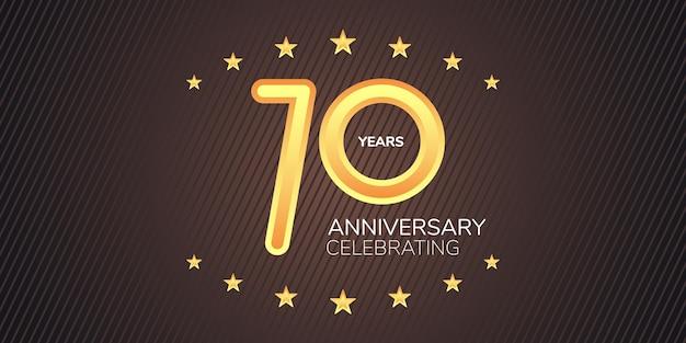 70-летний юбилей элемент графического дизайна с золотой неоновой цифрой для 70-летия