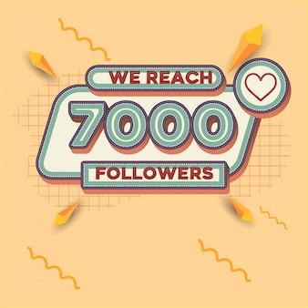 7000 followers square banner retro look