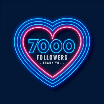 7000 followers thank you background in neon style