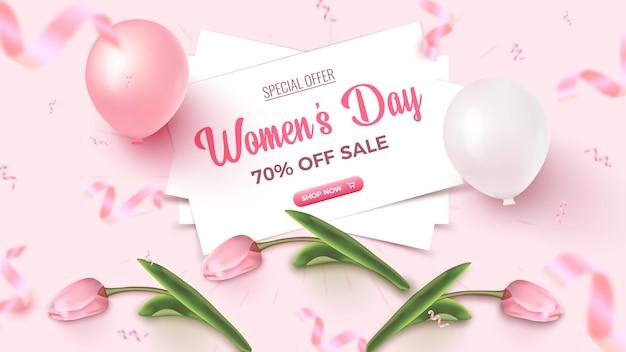 女性の日特別オファー。白いシーツ、ピンクと白の気球、チューリップ、バラ色の背景に落ちてくる紙吹雪が付いたセールバナーデザインが70%オフ。女性の日テンプレート。