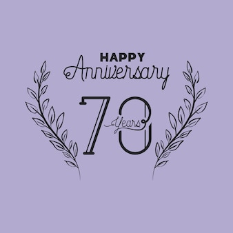花輪の王冠を持つ幸せな記念日番号70