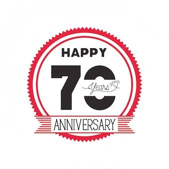 記念日のお祝いの紋章または記章の番号70