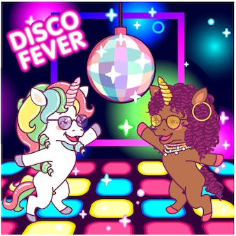 ミラーボールの下のディスコで踊るクールなユニコーン、70年代のディスコフィーバー