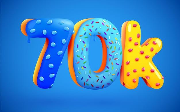 70k followers donut dessert sign social media friends followers thank you subscribers