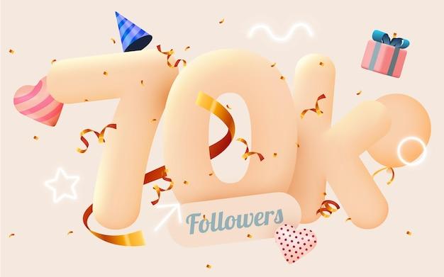 70 тысяч или 70000 подписчиков спасибо розовое сердце, золотые конфетти и неоновые вывески.