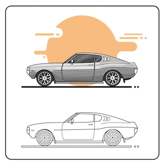 Серебряный автомобиль 70s easy editable