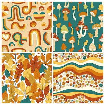 70s groovy hippie retro seamless pattern set. vintage floral vector pattern collection. wavy floral background with rainbow, leaves, mushroom,pumpkin,flowers. doodle hippie print for fabric,wallpaper