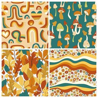 70년대 그루비 히피 복고풍 원활한 패턴 세트입니다. 빈티지 꽃 벡터 패턴 컬렉션입니다. 무지개, 잎, 버섯, 호박, 꽃이 있는 물결 모양의 꽃 배경. 직물, 벽지에 대한 낙서 히피 인쇄