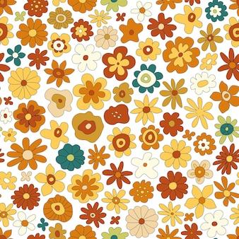 70 년대 복고풍 꽃 벡터 완벽 한 패턴입니다. 꽃, 간단한 모양으로 멋진 빈티지 꽃 반복 패턴입니다. 벽지, 배너, 직물, 포장에 대한 물결 모양의 기하학적 꽃 히피 인쇄. 추상 배경