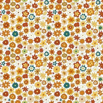 70 년대 복고풍 꽃 벡터 완벽 한 패턴입니다. 꽃, 단순한 모양으로 그루비 빈티지 꽃 반복 패턴. 벽지, 배너, 섬유 디자인을 위한 물결 모양의 기하학적 꽃 히피 인쇄