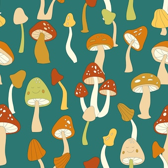 70s retro mushroom vector seamless pattern. groovy vintage floral repeat pattern with fungi, fly agaric. cute mushroom hippie print for wallpaper, banner, textile design, fabric, wrapping