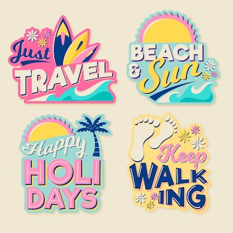 70s style travel sticker collection
