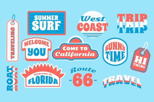 Set di adesivi da viaggio in stile anni '70