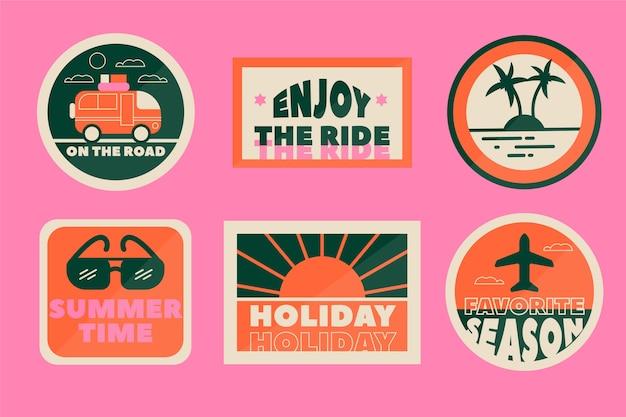 70s style travel sticker set