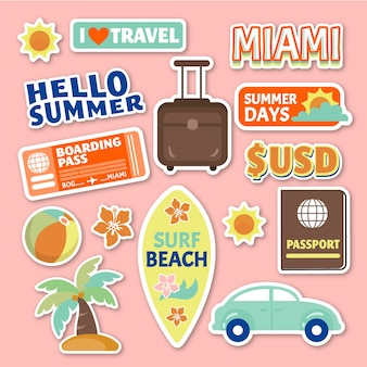 70s style travel sticker set