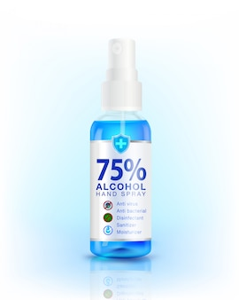 Дозатор спрея-дезинфицирующего средства для рук на 75%. антибактериальный эффект, лучшая защита от коронавируса (ковид-19). используется в качестве дезинфицирующего средства, макет, реклама, моющее средство, дизайн упаковки.