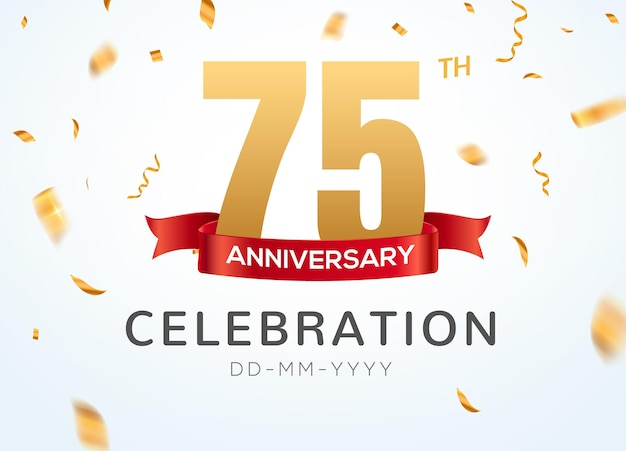 75 anniversary gold numbers with golden confetti. celebration 75th anniversary event party template.