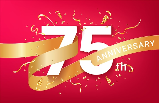 75th anniversary celebration banner template. big numbers with sparkles golden confetti and glitters ribbon.