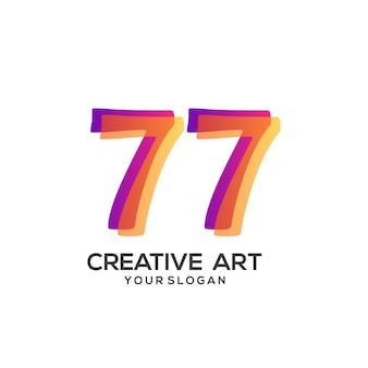 77 숫자 로고 그라데이션 디자인 화려한