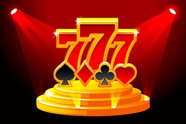 777とステージ表彰台のトランプのシンボル。カジノ、スロット、ルーレット、ゲームuiのベクトルイラスト。別々のレイヤーのアイコン。