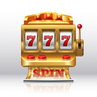 777 jackpot slot machine. golden casino spin, isolated gambling prize machine.