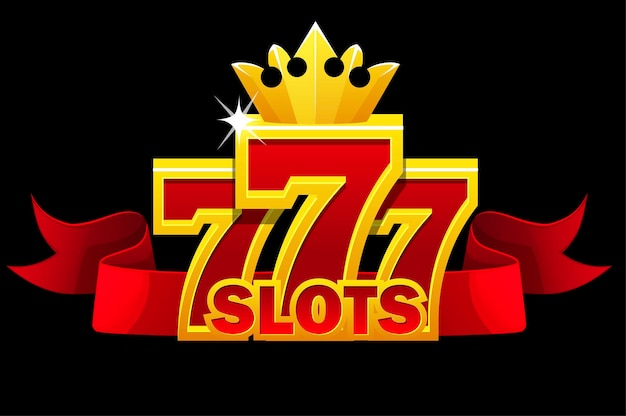 777 slots symbol, jackpot sign with red ribbon and gold crown for ui games