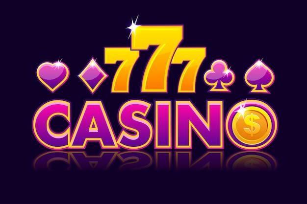画面のロゴのカジノの背景、ゲームカードの兆候、コインドル、777とスロットギャンブルのアイコン。ゲームのカジノ、スロット、ui。図