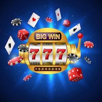 Большой выигрыш в игровых автоматах 777 казино с фишками для покера, игральных костей и игральных карт на сверкающем синем.